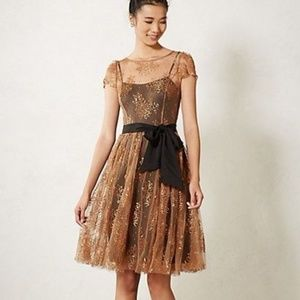 ANTHROPOLOGIE HONEYED LACE DRESS BY MOULINETT